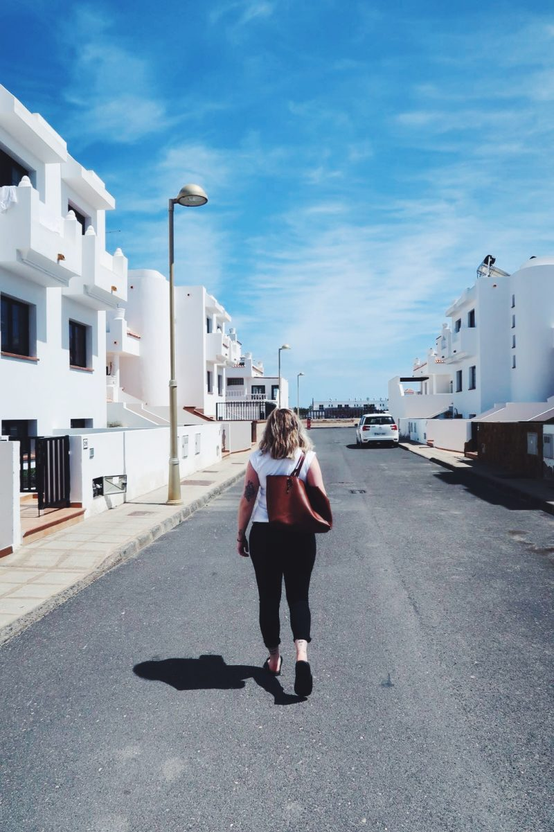 Walking down the streets at Corralejo
