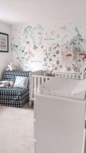 map wall mural nursery